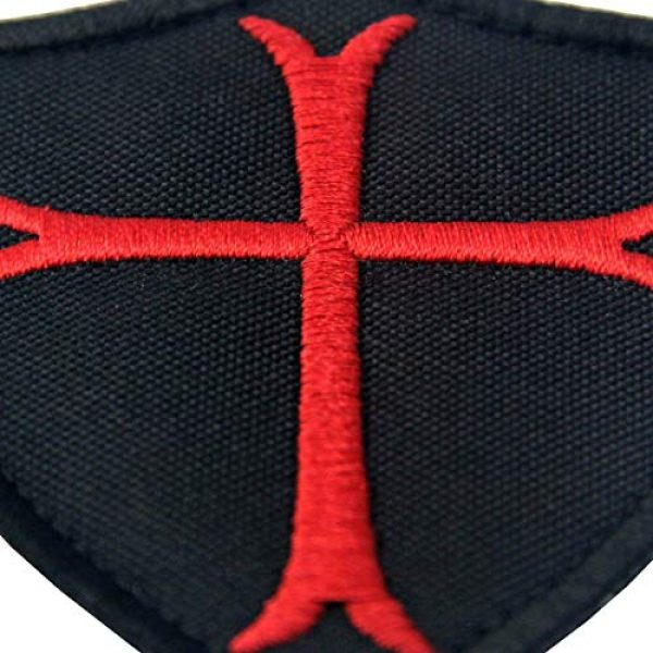 EmbTao Airsoft Morale Patch 2 Knights Templar Cross Shield Military Morale Embroidered Fastener Hook & Loop Patch - Black & Red