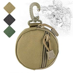 IronSeals Tactical Pouch 1 IronSeals Outdoor Circle Carrying Key Holder Case Small Zipper Coin Purse Keychain Wallet Bag