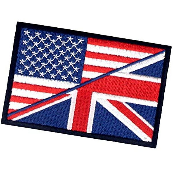 EmbTao Airsoft Morale Patch 4 USA American UK Union Jack Flag Patch Embroidered Morale Applique Iron On Sew On Emblem