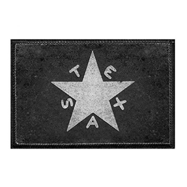 P PULLPATCH Airsoft Morale Patch 1 Battle of San Jacinto - Texas - Black and White - Distressed Morale Patch   Hook and Loop Attach for Hats, Jeans, Vest, Coat   2x3 in   by Pull Patch