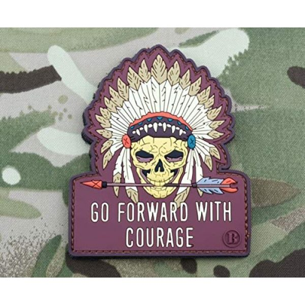 BritKitUSA Airsoft Morale Patch 1 BritKitUSA Go Forward with Courage Morale 3D PVC Patch Chief White Eagle Warrior Skull