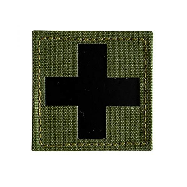 Hannah Fit Airsoft Morale Patch 1 1 Pieces Infrared IR Reflective Medic Cross Multicam MED Medical EMS EMT Tactical Patch Fastener Patch Hook/Loop 2x2 inch (OD Green)