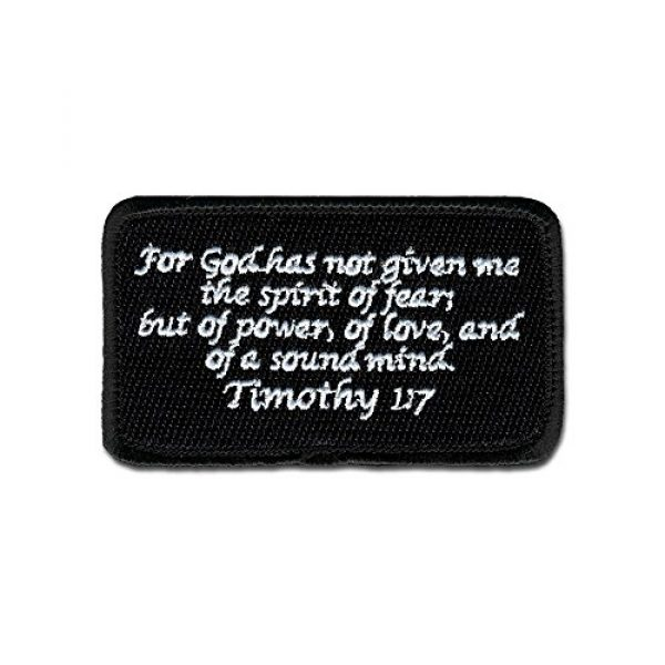 BASTION Airsoft Morale Patch 1 BASTION Morale Patches (Timothy 1:7, Black)   3D Embroidered Patches with Hook & Loop Fastener Backing   Well-Made Clean Stitching   Christian Patches Ideal for Tactical Bag, Hats & Vest