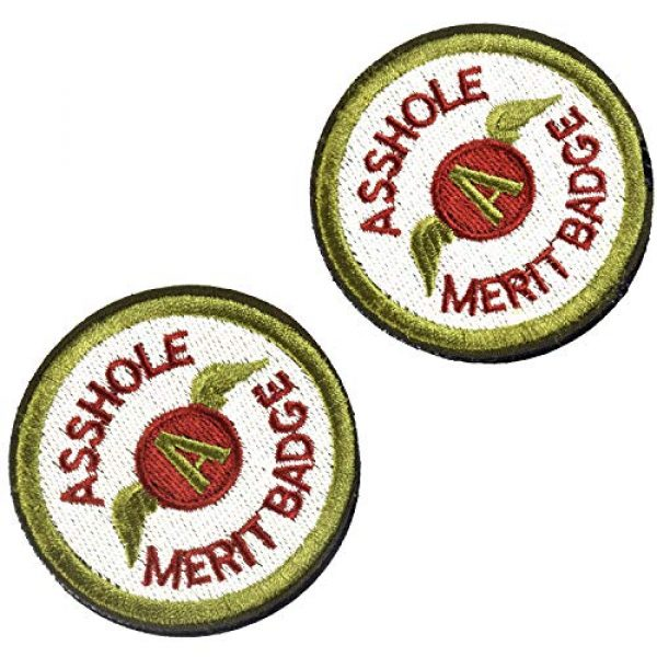 J.CARP Airsoft Morale Patch 1 2 Pieces Asshole Merit Badge Morale Patch, Funny Tactical Military Morale Patch Hook & Loop, Green