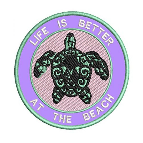 Appalachian Spirit Airsoft Morale Patch 1 Life is Better at The Beach Sea Turtle Embroidered Patch DIY Iron-on or Sew-on Decorative Badge Emblem Vacation Souvenir Travel Gear Appliques Megalodon Big Tooth Sharks Dolphins Whales Sea Life Jaws