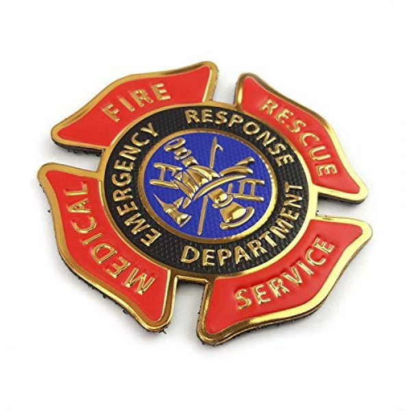 """Tactical Innovations Canada Airsoft Morale Patch 2 PVC Morale Patch - Fire Medical Rescue Services 3""""x3""""- Red/Black/Blue/Gold"""