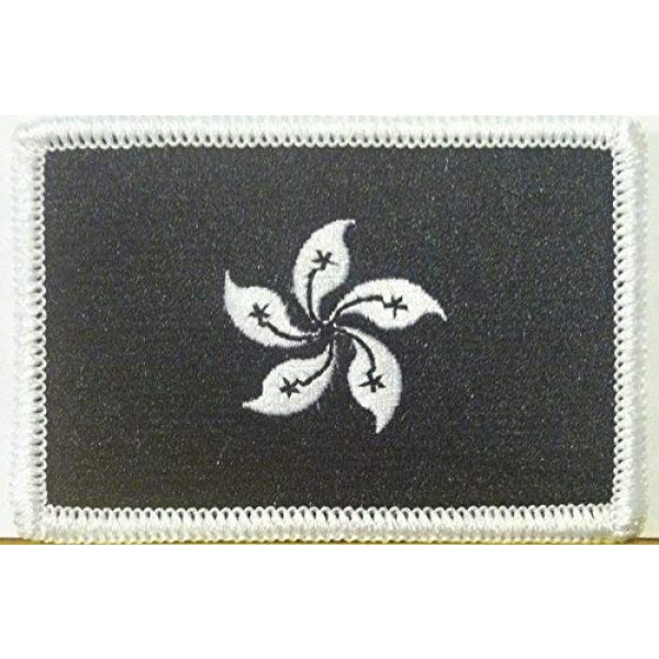 Fast Service Designs Airsoft Morale Patch 1 Hong Kong Flag Embroidered Patch with Hook & Loop Travel Morale Patriotic Shoulder Emblem Black & White Version #507