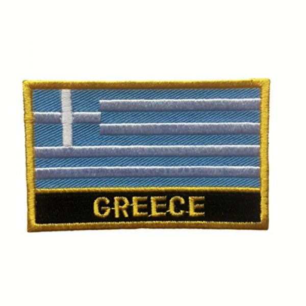 """Backwoods Barnaby Airsoft Morale Patch 1 Greece Flag Patch/Sew-On Morale Patches (Greek Iron-On w/Words, 2"""" x 3"""")"""