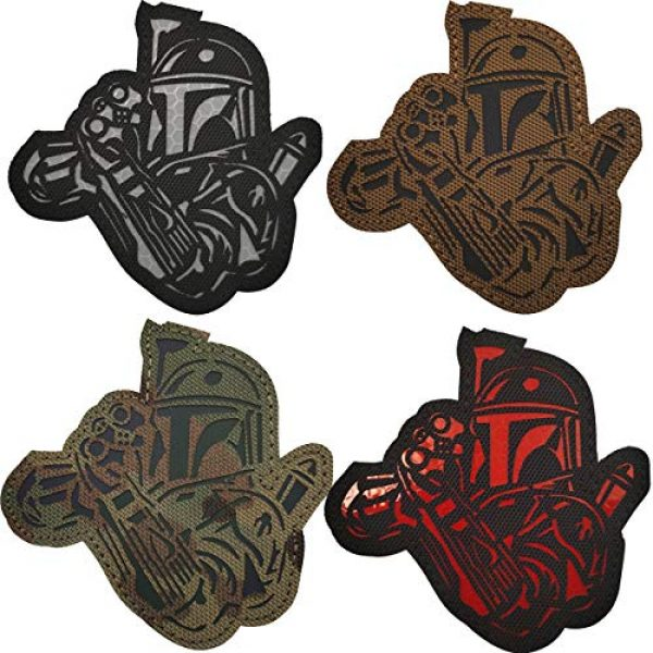 APBVIHL Airsoft Morale Patch 1 4 Pack Infrared IR Reflective Star Wars Mandalorian This is The Way Full Helmet Patch - Fastener Hook and Loop Backing Tactical Military Morale Appliques Emblem Badges