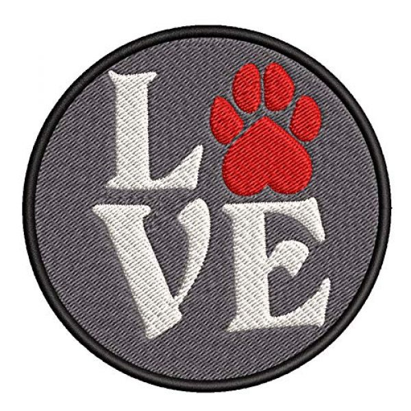 """Appalachian Spirit Airsoft Morale Patch 1 Love Red Paw Print Dog Breeds Canine 3.5"""" Embroidered Patch DIY Iron-on or Sew-on Decorative Applique Pug Labrador Lab Retriever German Shepherd Bulldog Beagle Poodles Dachshunds Cat Tiger Lion"""