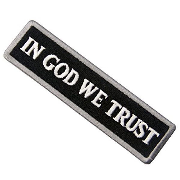 EmbTao Airsoft Morale Patch 4 EmbTao in GOD We Trust Embroidered Tactical Morale Iron On Sew On Patch - White & Black