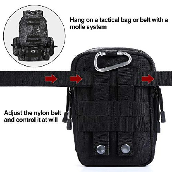 AmHoo Tactical Pouch 4 AmHoo Tactical Molle EDC Pouch Compact Multi Purpose Bag Upgraded Version with Best Double SBS Zippers and Cell Phone Holster Holder for iPhone 6,7,8plus etc