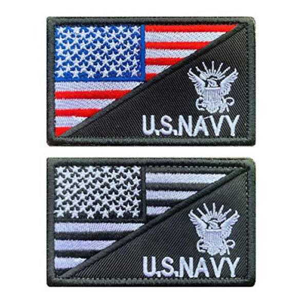 Antrix Airsoft Morale Patch 1 Antrix 2 Pcs American Flag/U.S. Navy US Armed Forces Embroidered Military Badge Emblem Patches Hook & Loop Patches for Hats Backpacks Bags Jackets