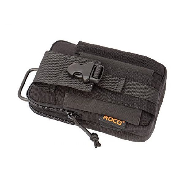 ROCOTACTICAL Tactical Pouch 4 Compact Tactical Molle EDC Pouch Utility Gadget Belt Waist Bag with Cell Phone Holster Holder for Iphone 6 Plus, 1000D Nylon (Black)