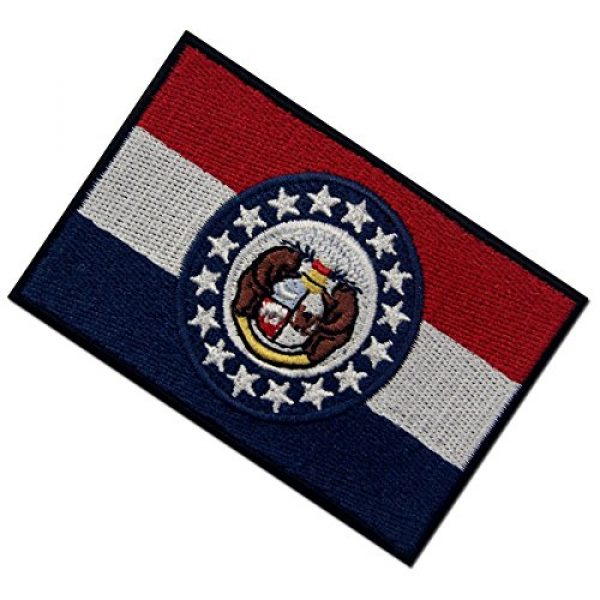 EmbTao Airsoft Morale Patch 4 Missouri State Flag Embroidered Emblem Iron On Sew On MO Patch