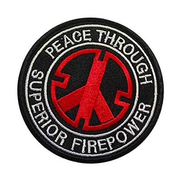 Embroidery Patch Airsoft Morale Patch 3 Peace Through Superior Firepower Military Hook Loop Tactics Morale Embroidered Patch