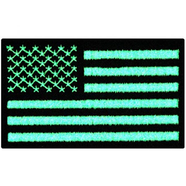 EmbTao Airsoft Morale Patch 1 EmbTao Glow in Dark Tactical Embroidered USA Flag Iron On Sew On Patch - Black & White