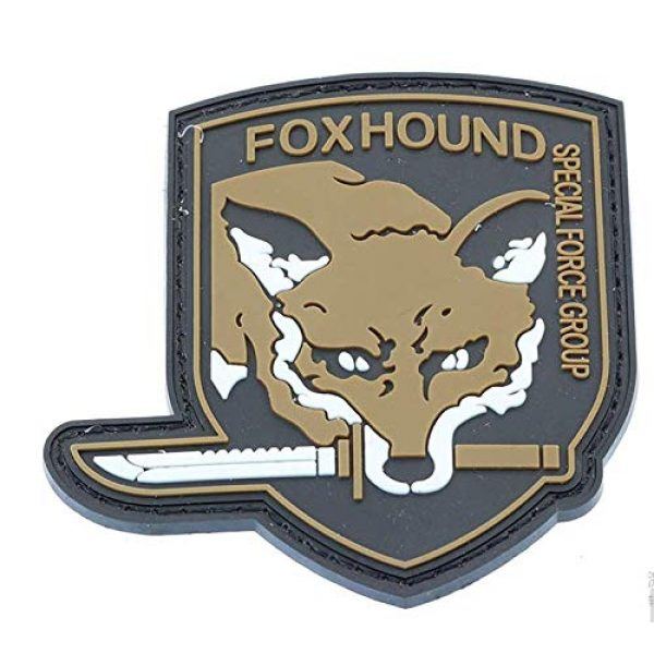 Tactical PVC Patch Airsoft Morale Patch 4 Metal Gear Solid MGS Fox Hound Special Force Group PVC Military Tactical Morale Patch Badges Emblem Applique Hook Patches for Clothes Backpack Accessories