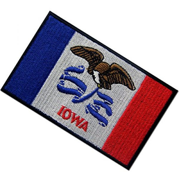 EmbTao Airsoft Morale Patch 4 Iowa State Flag Embroidered Emblem Iron On Sew On IA Patch