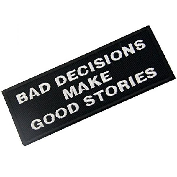 EmbTao Airsoft Morale Patch 3 Bad Decisions Make Good Stories Tactical Patch Embroidered Morale Applique Iron On Sew On Emblem
