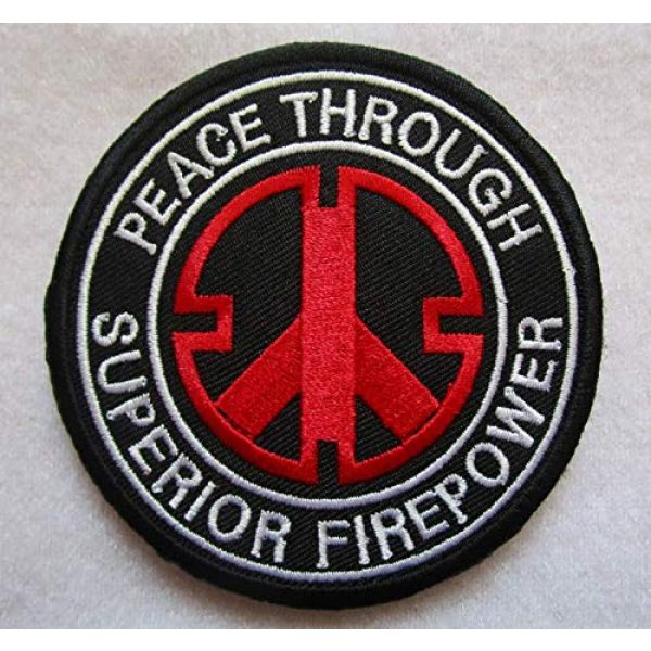 Embroidered Patch Airsoft Morale Patch 1 Peace Through Superior Firepower 3D Tactical Patch Military Embroidered Morale Tags Badge Embroidered Patch DIY Applique Shoulder Patch Embroidery Gift Patch