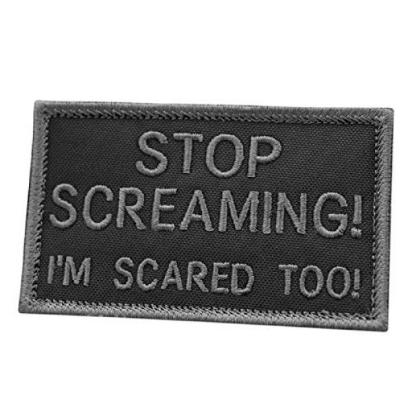 LEGEEON Airsoft Morale Patch 1 LEGEEON Subdued Stop Screaming I am Scared Too 2x3.25 US Tactical Morale Fastener Cap Patch