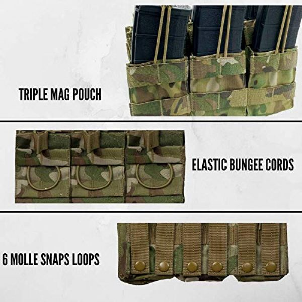 Acme Approved Tactical Pouch 4 Acme Approved Tactical Triple Stacker M4 -M16 Mag Pouch Multi-cam Best Fit for Military,Soldiers,Police Shooting Gear.