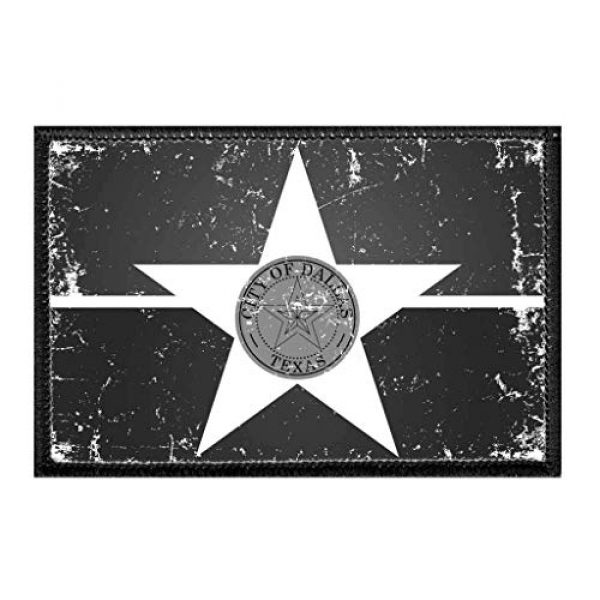 P PULLPATCH Airsoft Morale Patch 1 Dallas City Flag - Black and White - Distressed Morale Patch   Hook and Loop Attach for Hats, Jeans, Vest, Coat   2x3 in   by Pull Patch