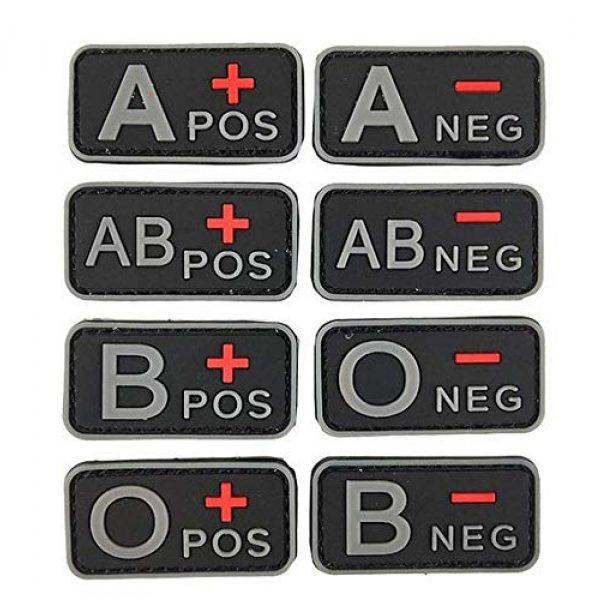 Tactical PVC Patch Airsoft Morale Patch 1 2pcs Positive/Negative Group Blood Type Morale Military Patch 3D PVC Rubber Tactical Rubber Hook Patch (A-)