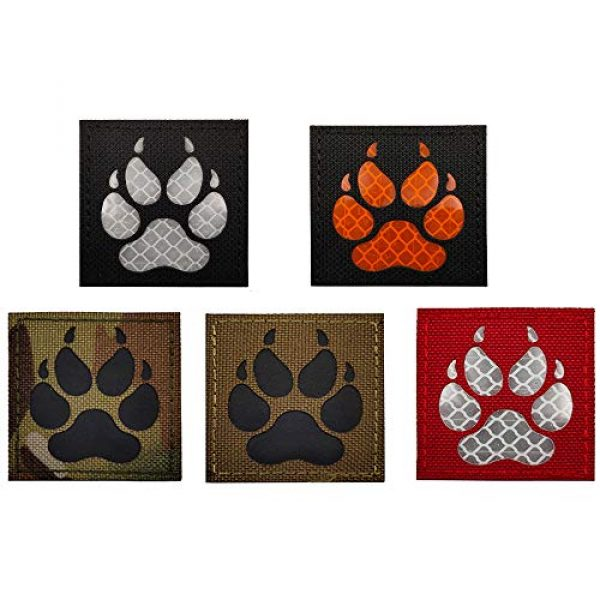 APBVIHL Airsoft Morale Patch 7 Reflective Infrared IR K9 Dog Handler Paw K-9 2x2 Tactical Morale Hook and Loop Fastener Patches