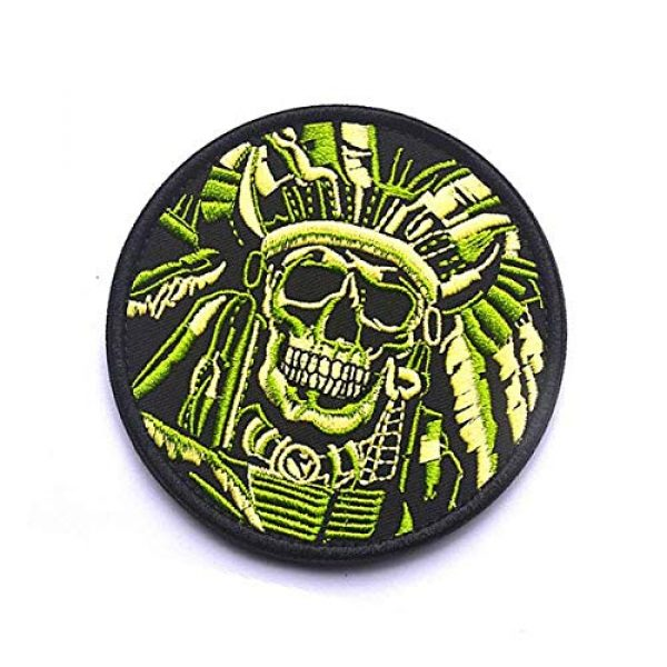 Embroidery Patch Airsoft Morale Patch 3 Death Skull Warrior Indian Chief Military Hook Loop Tactics Morale Embroidered Patch (color1)