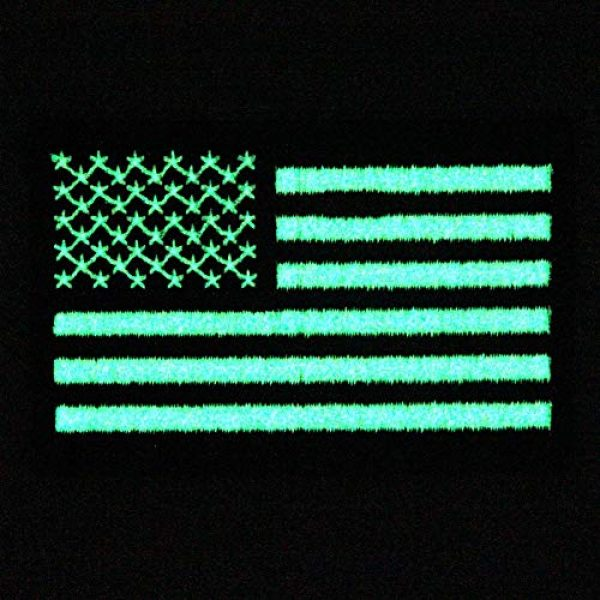 EmbTao Airsoft Morale Patch 4 EmbTao Glow in Dark Tactical Embroidered USA Flag Iron On Sew On Patch - Black & White