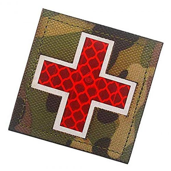 Embroidery Patch Airsoft Morale Patch 3 Cross Medical Rescue Reflective Patch Military Hook Loop Tactics Morale Patch