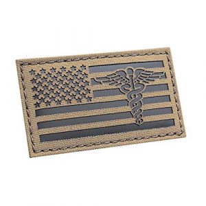 Tactical Freaky Airsoft Morale Patch 1 IR Coyote America Caduceus Flag 2x3.5 EMS Medic Nurse Doctor USA Morale Tactical Fastener Patch