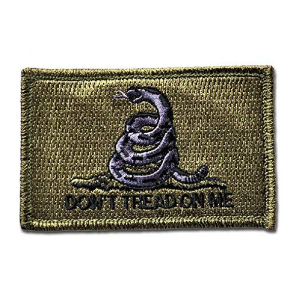 BASTION Airsoft Morale Patch 1 BASTION Morale Patches (Don't Tread On Me, Tan)   3D Embroidered Patches with Hook & Loop Fastener Backing   Clean Stitching   Military Patches for Tactical Bag, Hats & Vest