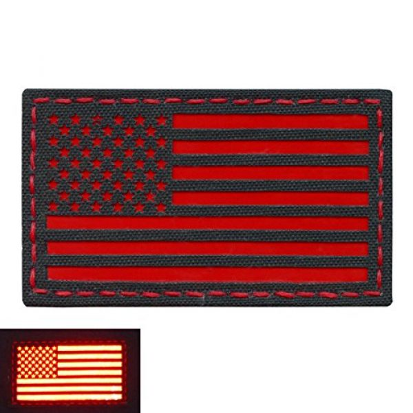 Tactical Freaky Airsoft Morale Patch 4 Reflective Red 3.5x2 USA American Flag Tactical Morale Uniform Fastener Patch