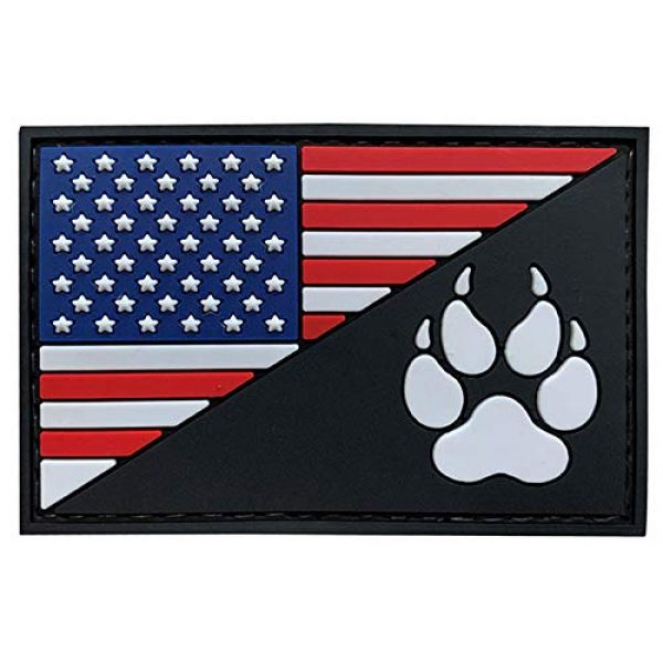 G-Force Airsoft Morale Patch 1 G-Force American Flag and K9 Paw PVC Morale Patch (Red/White/Blue/Black)