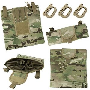 """Aoutacc Tactical Pouch 1 Aoutacc Foldable MOLLE Magazine Dump Pouch, 10""""x11.4"""" Roll-Up Pouch Folding Mag Dump Pouch Tactical Drawstring Magazine Recovery Pouch Holster Bag"""