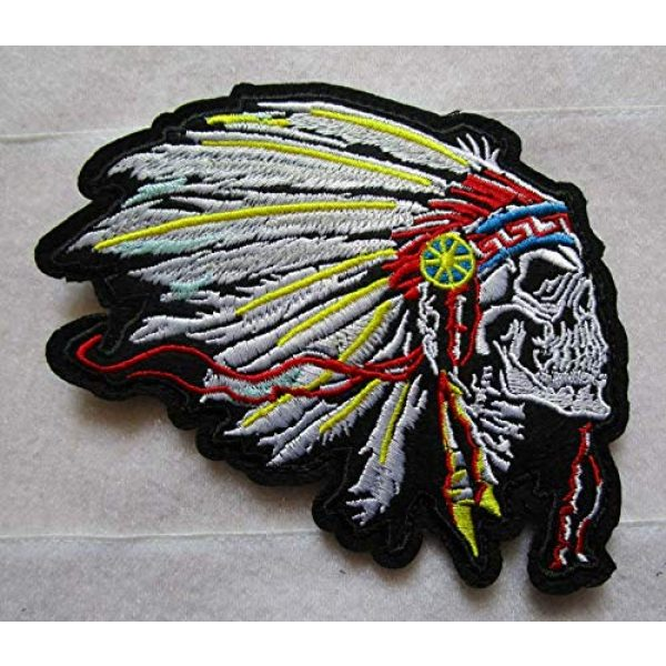 Embroidered Patch Airsoft Morale Patch 1 Indian Chief Skull Skeleton Native American 3D Tactical Patch Military Embroidered Morale Tags Badge Embroidered Patch DIY Applique Shoulder Patch Embroidery Gift Patch