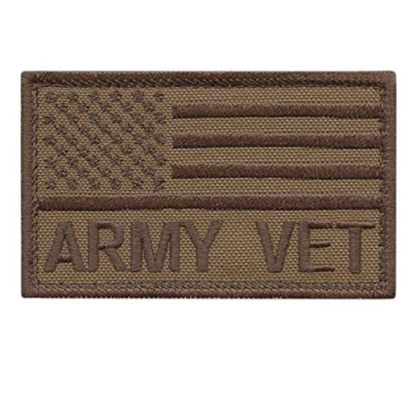 LEGEEON Airsoft Morale Patch 1 LEGEEON Tan USA American Flag Army Veteran Vet Coyote Brown 2x3.25 Morale Tactical Fastener Patch