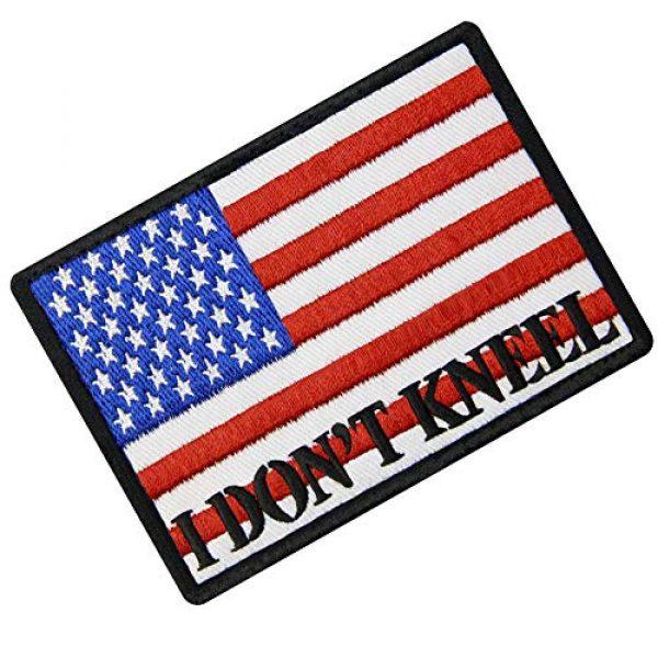 EmbTao Airsoft Morale Patch 3 I Don't Kneel for The Anthem USA Flag Morale Tactical Patch Embroidered Applique Fastener Hook & Loop Emblem