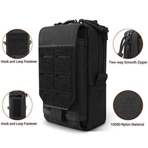 XYAM Tactical Pouch 4 XYAM Tactical Molle Pouch Military Waist Bag Outdoor Men Tool Bag Vest Pack Purse Mobile Phone Case Hunting Compact Bag(Black)