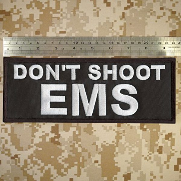 LEGEEON Airsoft Morale Patch 2 LEGEEON Don't Shoot EMS Large XL 10x4 inch Medic Paramedic Embroidery Fastener Patch