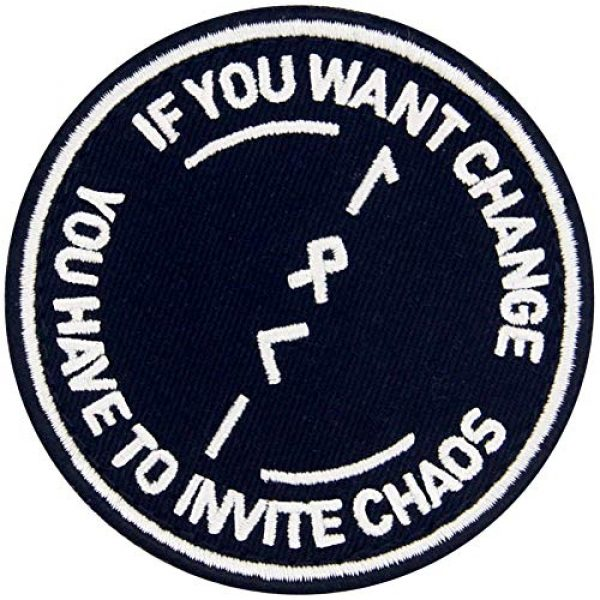 EmbTao Airsoft Morale Patch 4 If You Want to Change You Have to Invite Chaos Symbol Tactical Patch Embroidered Morale Applique Fastener Hook & Loop Emblem
