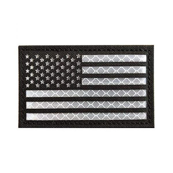 Zhikang68 Airsoft Morale Patch 1 Infrared IR US USA Flag Patch Tactical Military Morale Reflective American Flag Patch Hook and The Loop Fastener Emblem Backing Multicam(Black White (Left))