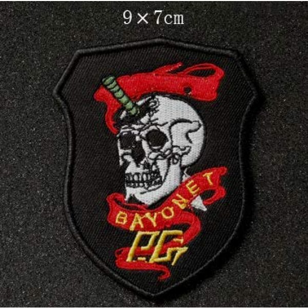 Tactical Embroidery Patch Airsoft Morale Patch 1 Bayonet Skull Embroidery Patch Military Tactical Morale Patch Badges Emblem Applique Hook Patches for Clothes Backpack Accessories