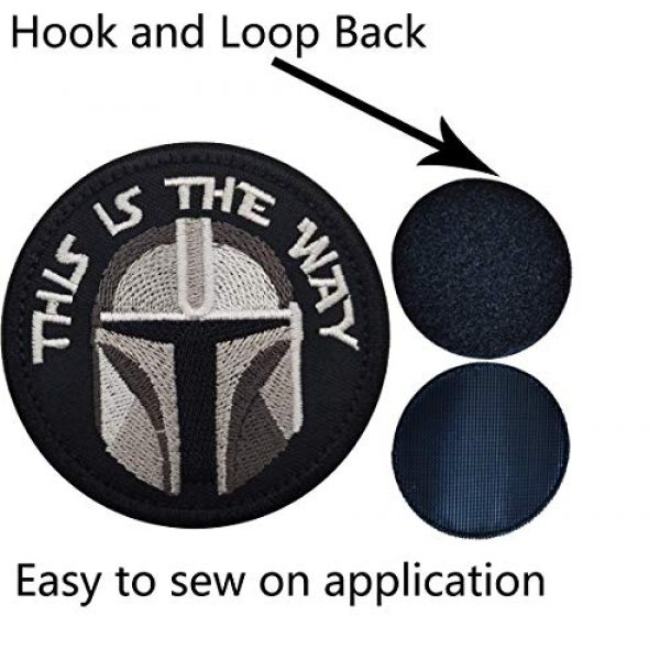 APBVIHL Airsoft Morale Patch 4 This is The Way Mandalorian Morale Patch, Fastener Hook and Loop Backing Tactical Military Embroidered Fabric Patches for Clothes Hat Backpack, 3.15 Inch, Bundle 2 Pieces