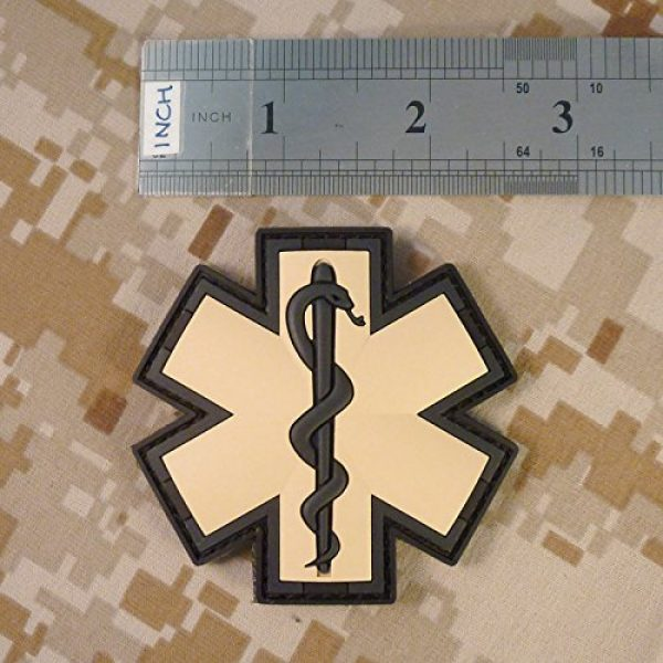 LEGEEON Airsoft Morale Patch 4 EMS EMT Medic Paramedic Star of Life AOR1 Desert DCU Arid Mud Morale PVC Fastener Patch