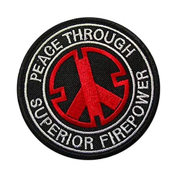 Embroidery Patch Airsoft Morale Patch 2 Peace Through Superior Firepower Military Hook Loop Tactics Morale Embroidered Patch