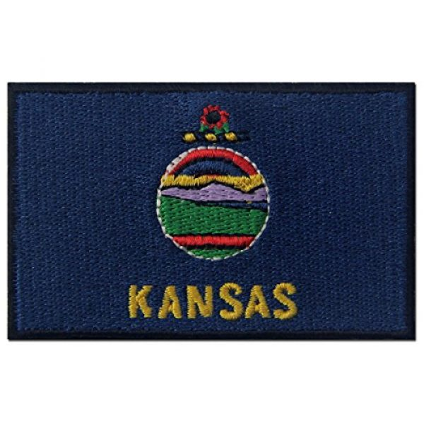EmbTao Airsoft Morale Patch 1 Kansas State Flag Embroidered Emblem Iron On Sew On KS Patch